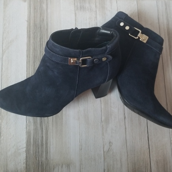 797075b2a Alfani Shoes | Step N Flex Suede Leather Ankle Boots Navy | Poshmark
